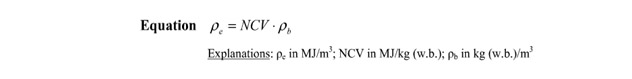 The equation to calculate the energy density of biomass pellets is placed