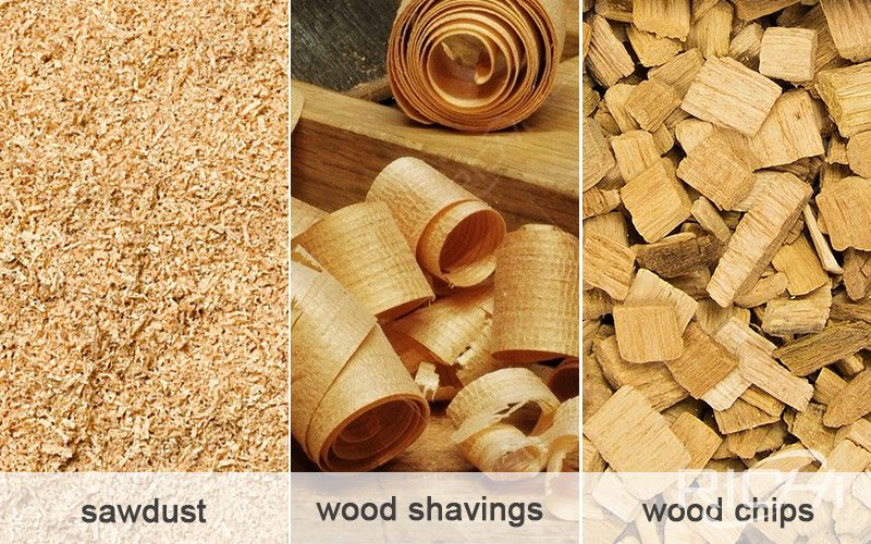 Sawdust, wood chips and wood shavings comparison